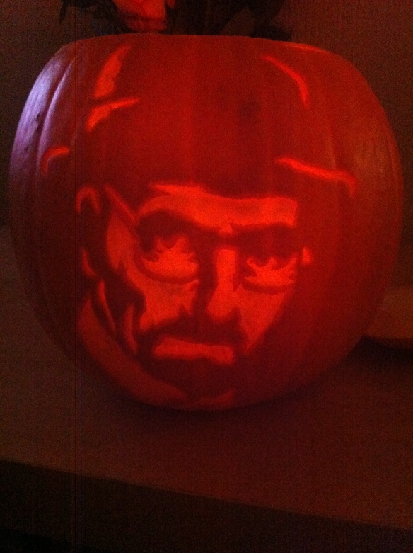 Heisenberg/walter white pumpkin i just made. happy halloween :-)